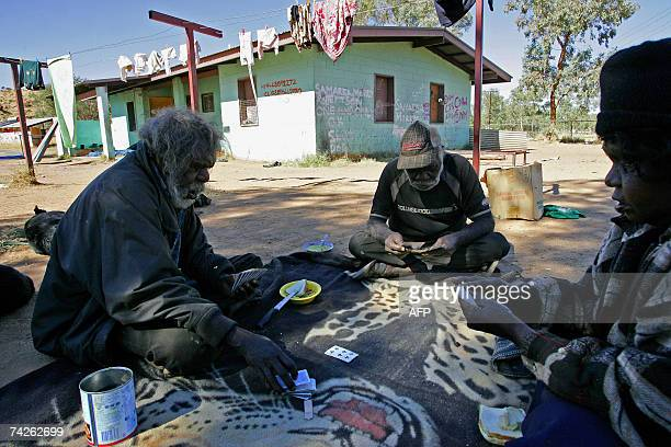 TO GO WITH AUSTRALIAABORIGINESSCHEDFEATURE by Neil Sands This picture taken 19 May 2007 shows Aboriginal elders George Robertson Toby Gara and Brenda...