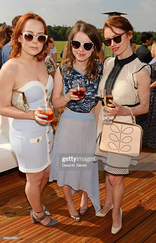 Alice Sykes, Rosie Day and Sarah Winter attend day two of the Audi Polo Challenge at Coworth Park on May 29, 2016 in London, England.