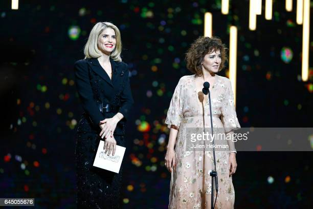 Alice Taglioni and Valeria Golino speak on stage during the Cesar Film Awards Ceremony at Salle Pleyel on February 24 2017 in Paris France