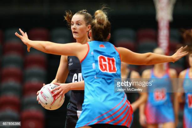 Alice TeagueNeeld of the Magpies looks to pass during the round six ANL match between the Netball NSW Waratahs and the Tasmanian Magpies at Sydney...