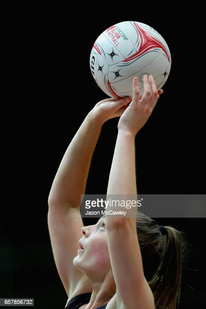 Alice TeagueNeeld of the Magpies shoots at goal during the round six ANL match between the Netball NSW Waratahs and the Tasmanian Magpies at Sydney...