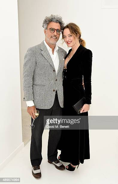 Alice Temperley and guest attend the Louis Vuitton 'SERIES 3' exhibition cocktails during London Fashion Week SS16 on September 22 2015 in London...