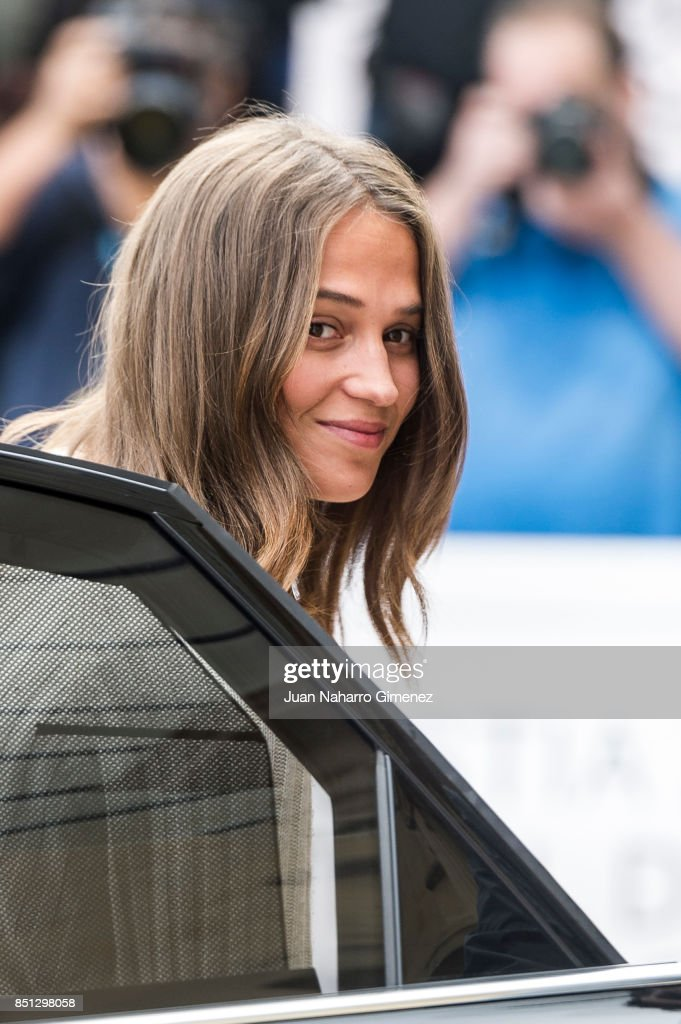 Alice Vikander is seen arriving at 65th San Sebastian Film Festival on September 22, 2017 in San Sebastian, Spain.