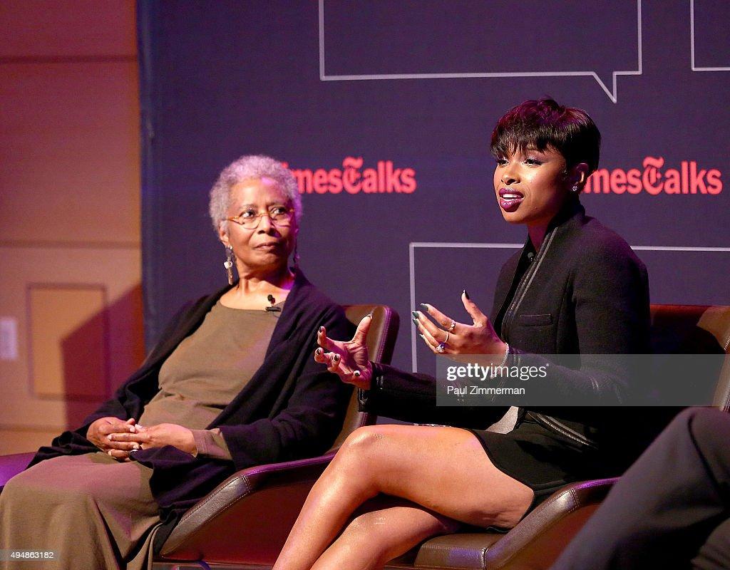 Alice Walker (L) and Jennifer Hudson attend'The Color Purple' TimesTalks: Jennifer Hudson, Cynthia Erivo, Alice Walker, John Doyle at The New School on October 29, 2015 in New York City.