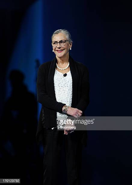 Alice Walton smiles while presenting the Entrepreneur Award during the WalMart Stores Inc annual shareholders meeting in Fayetteville Arkansas US on...