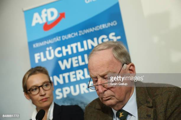Alice Weidel and Alexander Gauland colead candidates of the rightwing populist Alternative for Germany political party arrive to speak on Islam...