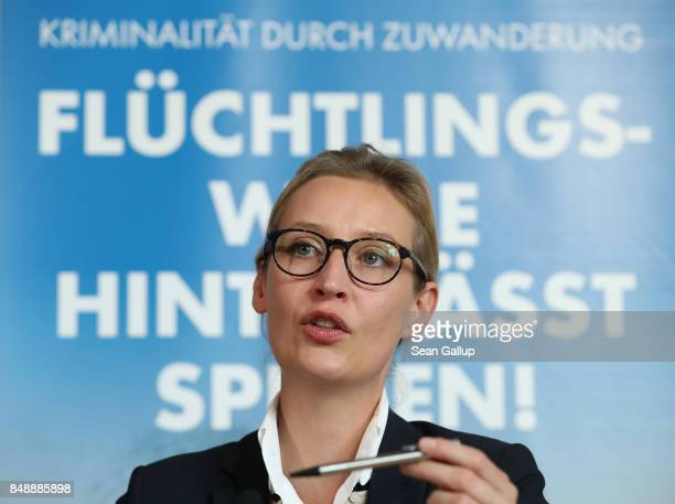 Alice Weidel and Alexander Gauland colead candidates of the rightwing populist Alternative for Germany political party speak to the media on Islam...