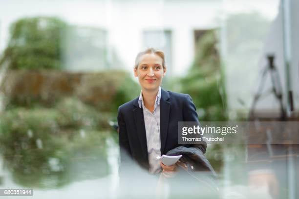 Alice Weidel campaign leader of Germany's rightwing populist Alternative for Germany party for the next German general election arrives at...