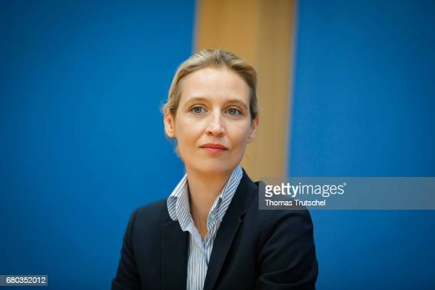 Alice Weidel campaign leader of Germany's rightwing populist Alternative for Germany party for the next German general election speaks at...