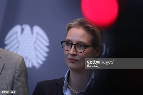 Alice Weidel candidate for Alternative for Germany party listens during a news conference in Berlin Germany on Tuesday Sept 26 2017 AfD the populist...