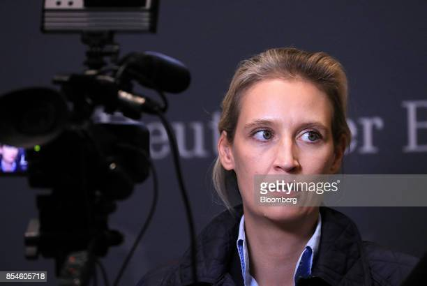 Alice Weidel candidate for Alternative for Germany party pauses during a television interview following a news conference in Berlin Germany on...