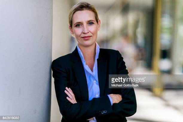 Alice Weidel candidate of rightwing party AFD Alternative fuer Deutschland or Alternative For Germany for federal elections 2017 poses for a portrait...