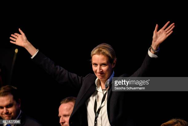 Alice Weidel celebrate their nomination as campaign leaders of Germany's rightwing populist Alternative for Germany party for the next German general...