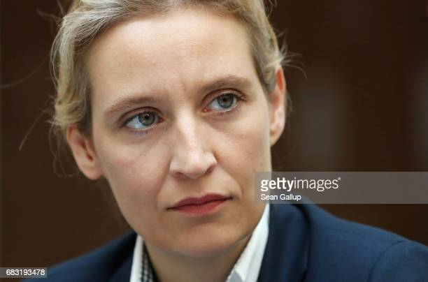 Alice Weidel colead candidate in German federal elections for the rightwing populist Alternative for Germany political party prepares to speak to the...
