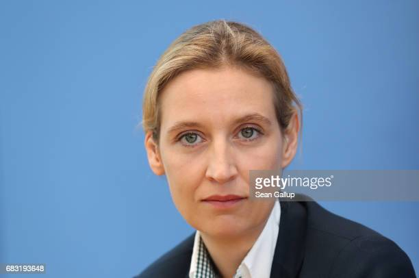 Alice Weidel colead candidate in German federal elections for the rightwing populist Alternative for Germany political party speaks to the media the...