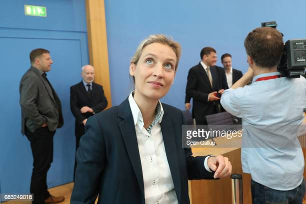 Alice Weidel colead candidate in German federal elections for the rightwing populist Alternative for Germany political party departs after speaking...