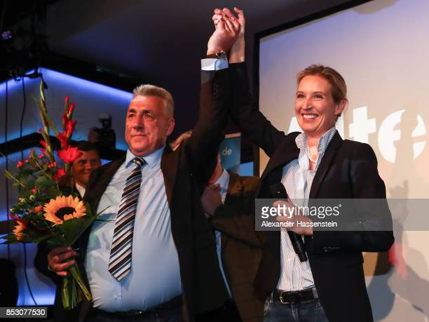Alice Weidel colead candidate of the Alternative for Germany celebrates after the announcement of the initial results that give the party 132% of the...