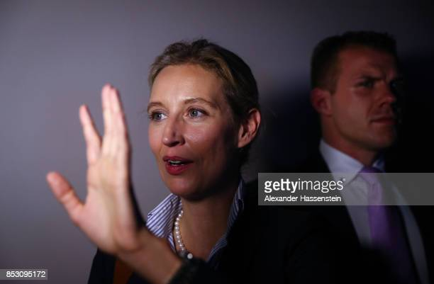 Alice Weidel colead candidate of the Alternative for Germany gives an interview after reaching a betterthanexpected 13% and third place finish in...