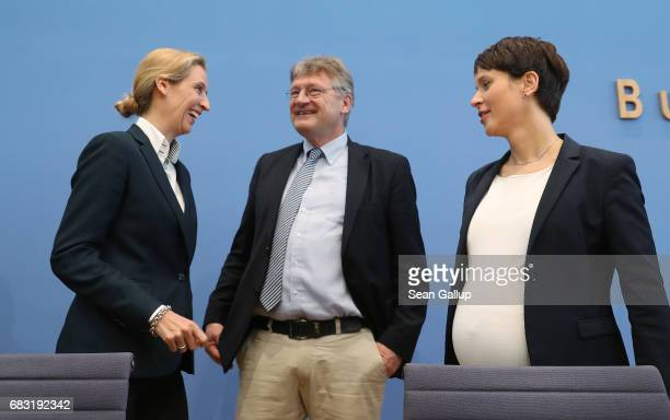 Alice Weidel Joerg Meuthen and Frauke Petry who are leading members of the populist Alternative for Germany political party arrive to speak to the...