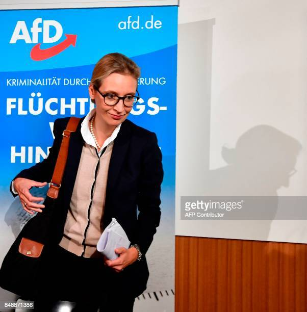 Alice Weidel one of the leading candidates of the antiimmigration and Islamophobic party AfD arrives to address a press conference about immigration...