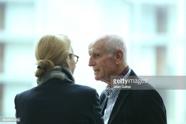 Alice Weidel who along with Alexander Gauland will lead the new Bundestag faction of the rightwing Alternative for Germany speaks with fellow AfD...