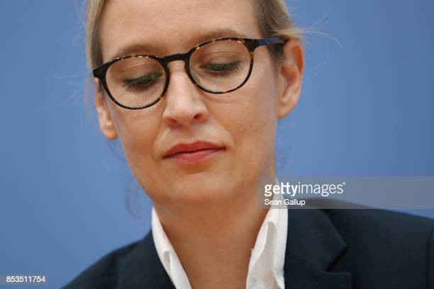 Alice Weidel who was a colead candidate of the rightwing Alternative for Germany party in yesterday's German federal elections speak to the media at...