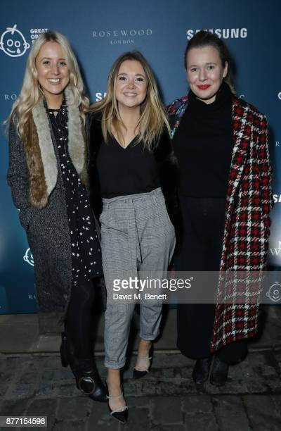 Alice Wellings Cat Roach and Laura SewardSmith attend a Christmas Party at Rosewood London to celebrate the launch of Rosewood Mini Wishes in aid of...
