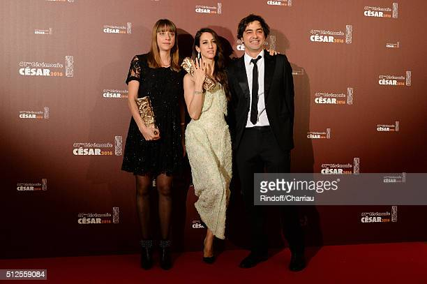 Alice Winocour Deniz Gamze Erguven and Charles Gillibert pose with their awards of Best Script and Best First Feature for the movie 'Mustang' during...