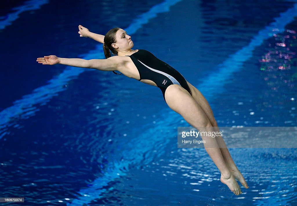Alicia Blagg competes in the Women's 1m Final on day 1 of the British Gas Diving Championships on February 8, 2013 in Plymouth, England.