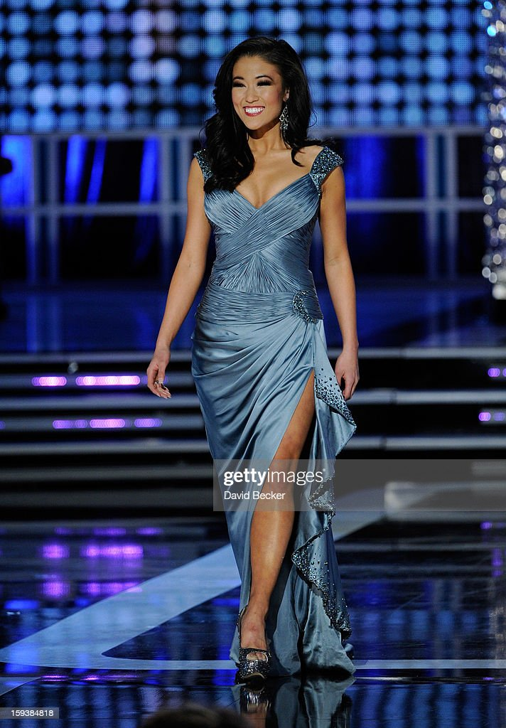 Alicia Clifton, Miss Oklahoma, competes in the evening gown competition during the 2013 Miss America Pageant at PH Live at Planet Hollywood Resort & Casino on January 12, 2013 in Las Vegas, Nevada.