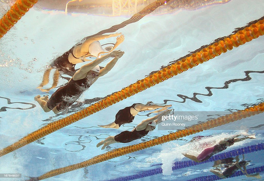 <a gi-track='captionPersonalityLinkClicked' href=/galleries/search?phrase=Alicia+Coutts&family=editorial&specificpeople=2905127 ng-click='$event.stopPropagation()'>Alicia Coutts</a> and Ellen Gandy of Australia competes in the Women's 200 Metre Individual Medley Final during day two of the Australian Swimming Championships at SA Aquatic and Leisure Centre on April 27, 2013 in Adelaide, Australia.