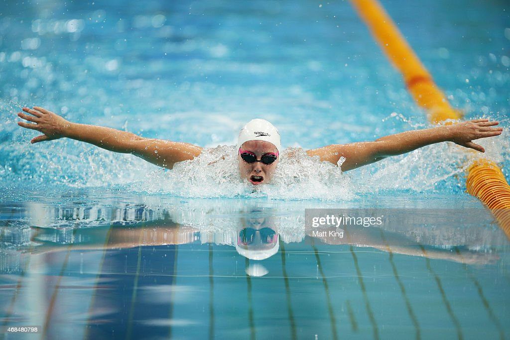 Alicia Coutts competes in the Women's 100m Butterfly Semi Final during day one of the Australian National Swimming Championships at Sydney Olympic Park Aquatic Centre on April 3, 2015 in Sydney, Australia.