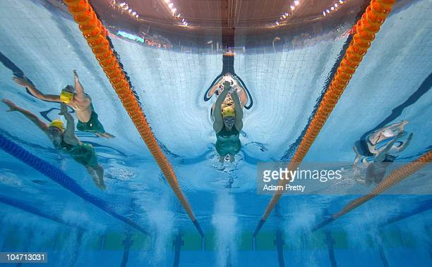 Alicia Coutts of Australia competes in the Women's 200m Individual Medley Final at the Dr SP Mukherjee Swimming Complex during day one of the Delhi...