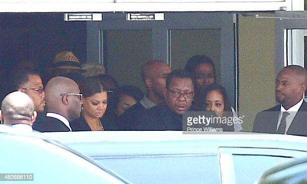 Alicia Etheredge and Bobby Brown attend the funeral of Bobbi Kristina Brown at the St James United Methodist Church on August 1 2015 in Alpharetta...