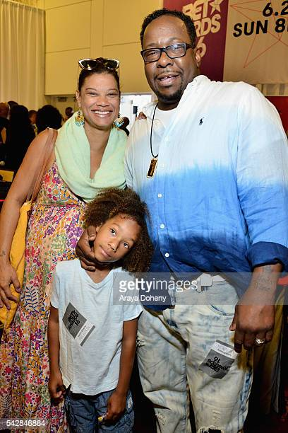 Alicia Etheredge Cassius Brown and recording artist Bobby Brown attend the radio broadcast center during the 2016 BET Experience at the JW Marriott...