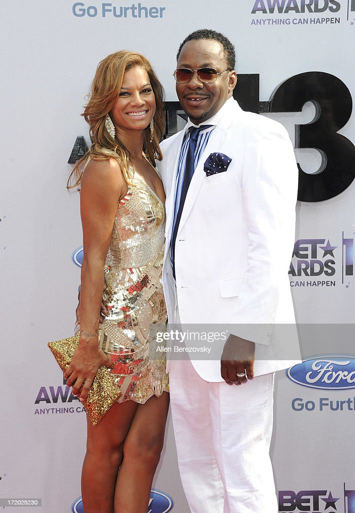 Alicia Etheridge and recording artist Bobby Brown attend 2013 BET Awards - Arrivals at Nokia Plaza L.A. LIVE on June 30, 2013 in Los Angeles, California.