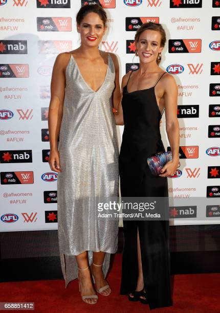 Alicia Eva of the Magpies and guest arrive during the The W Awards at the Peninsula on March 28 2017 in Melbourne Australia