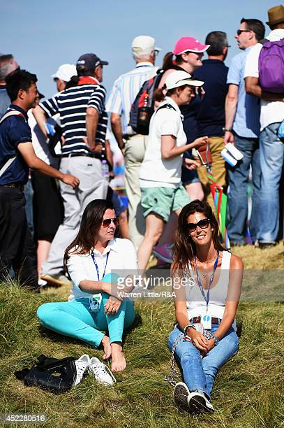 Alicia FernandezCastano wife of Gonzalo FernandezCastano of Spain watches play during the first round of The 143rd Open Championship at Royal...