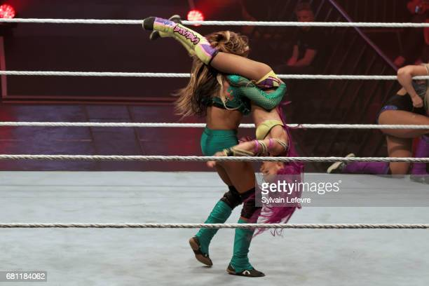 Alicia Fox fights against Sasha Banks during WWE Live 2017 at Zenith Arena on May 9 2017 in Lille France