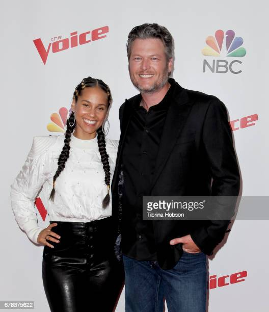 Alicia Keys and Blake Shelton attend 'The Voice' Season 12 coaches red carpet at Universal Studios Hollywood on May 1 2017 in Universal City...