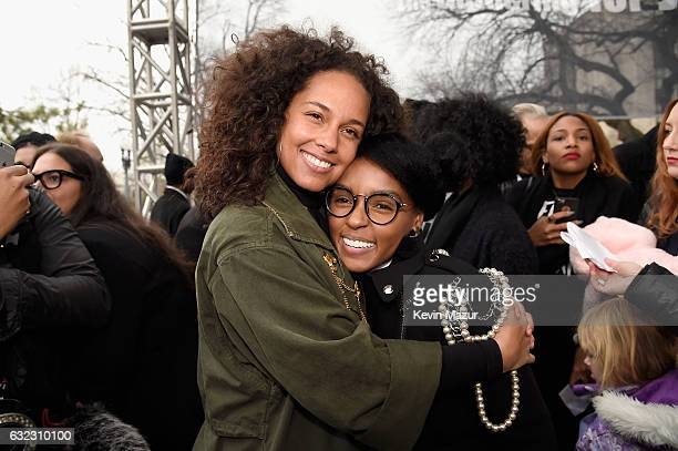 Alicia Keys and Janella Monae attend the rally at the Women's March on Washington on January 21 2017 in Washington DC