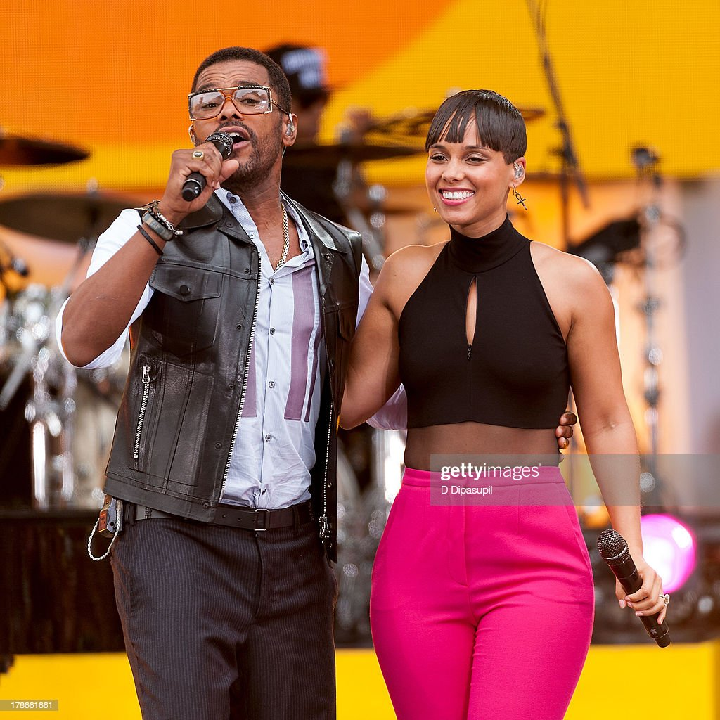 <a gi-track='captionPersonalityLinkClicked' href=/galleries/search?phrase=Alicia+Keys&family=editorial&specificpeople=169877 ng-click='$event.stopPropagation()'>Alicia Keys</a> (R) and Maxwell perform on ABC's 'Good Morning America' at Rumsey Playfield on August 30, 2013 in New York City.