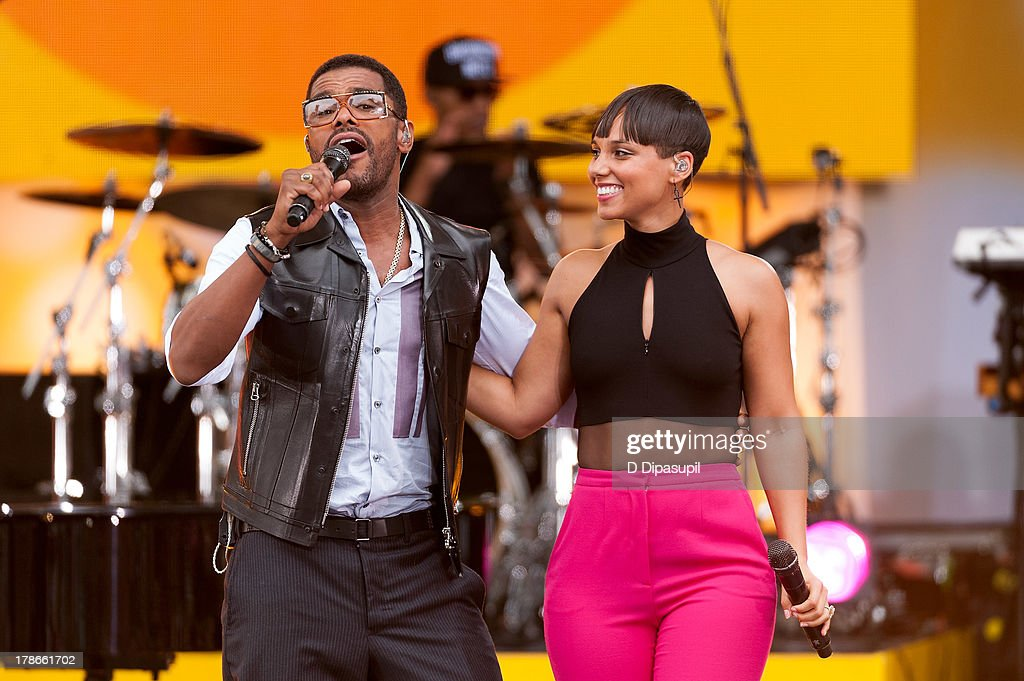 Alicia Keys (R) and Maxwell perform on ABC's 'Good Morning America' at Rumsey Playfield on August 30, 2013 in New York City.