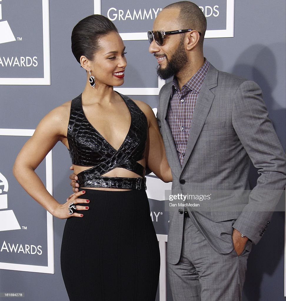 Alicia Keys and Swizz Beatz arrive at the 55th Annual Grammy Awards at the Staples Center on February 10, 2013 in Los Angeles, California.