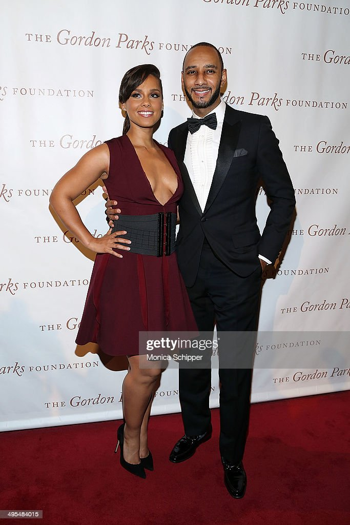 Alicia Keys (L) and Swizz Beatz attend 2014 Gordon Parks Foundation awards dinner at Cipriani Wall Street on June 3, 2014 in New York City.