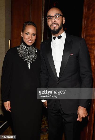 Alicia Keys and Swizz Beatz attend Angel Ball 2014 hosted by Gabrielle's Angel Foundation at Cipriani Wall Street on October 20 2014 in New York City