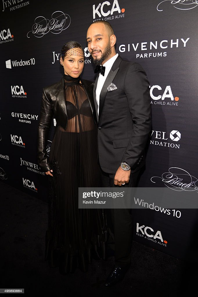 Alicia Keys and Swizz Beatz attend Keep A Child Alive's 12th Annual Black Ball at Hammerstein Ballroom on November 5 2015 in New York City