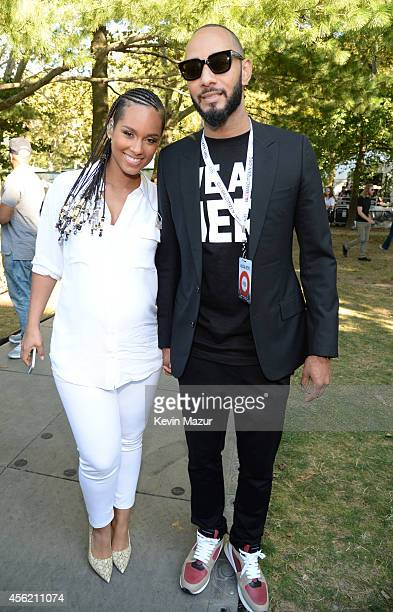 Alicia Keys and Swizz Beatz attend the 2014 Global Citizen Festival to end extreme poverty by 2030 at Central Park on September 27 2014 in New York...