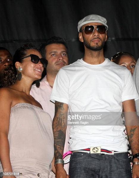 Alicia Keys and Swizz Beatz attend the 7th Annual Rock The Bells festival on Governors Island on August 28 2010 in New York City