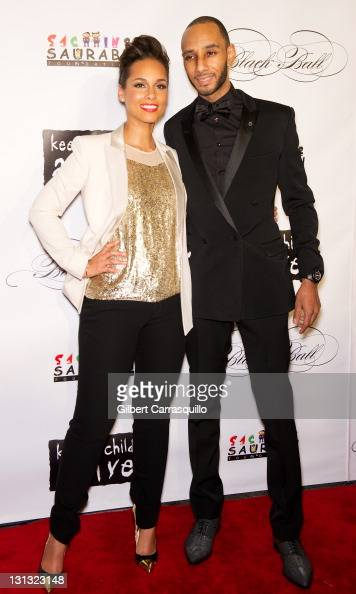 Alicia Keys and Swizz Beatz attend the 8th annual Keep A Child Alive Black Ball at the Hammerstein Ballroom on November 3 2011 in New York City